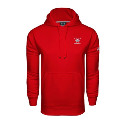 Western Under Armour Red Performance Sweats Team Hood 'W Western' under a blood red sky