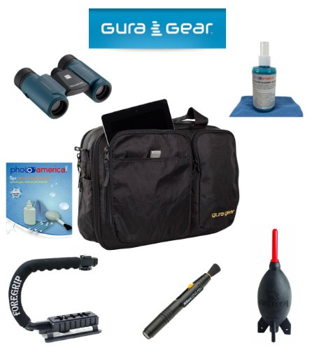 Gura Gear Chobe 19-24L Shoulder Bag, (Black) For Sony Slt A99/A33/A55/A35/A65/A77/A57/A37/A58 + Foregrip + Nikon Lens Pen Cleaning System + Giotto'S Air Blower + Cleaning Kit + Lcd Screen Protectors + Olympus Waterproof Binoculars