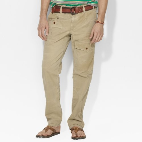 Polo Ralph Lauren Men'S Slim Fit Vintage Wash Pants (36X32, Khaki)