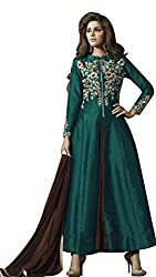 pakiza design new chain silk partywear anarkali suit dress material for festival (1607-GREEN)