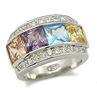 Gemstone CZ Rings - Multicolor Created Gemstone Cubic Zirconia Ring