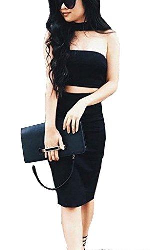 ALAIX Womens Halter Senza Spalline Senza Maniche Due Pezzi Gonna Aderente Zipper abiti Black M