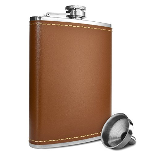 Premium 8 Oz Brown Soft Touch Leather Wrap Outdoor Adventure - Leak Proof - Flask 304 Stainless Steel Liquor Hip Flask by Future Hydrate - Includes Free Bonus Funnel (Brown Faux Leather Wrap, 8oz) (Golf Club Making Tools compare prices)