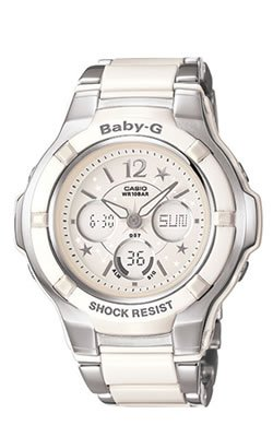 Casio #BGA120C-7B1 Women's White Stainless Steel Resin Hybrid Analog Digital Baby G Watch