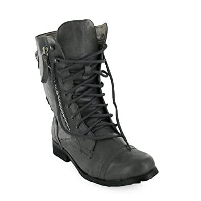 Ladies Grey Military Lace Up Combat Boots Size 3 Bnib
