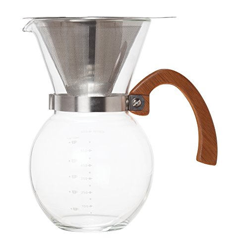 HIC Pour-Over Coffee Maker Borosilicate Glass with Bamboo Handle Stainless Steel Filter, 22 oz ...