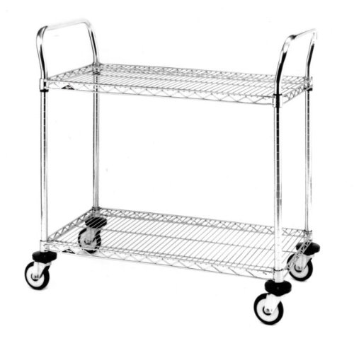 Metro MW Series Stainless Steel Wire Utility Cart, 2 Shelves, 375 lbs Capacity, 36