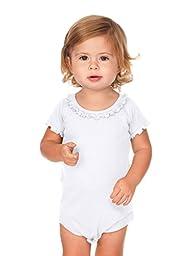 Kavio! Infants Sunflower Short Sleeve Onesie White 18M
