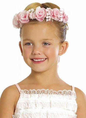 Kid Collection Girls Angelic Organza Rose Flower Girl Halo Pink (Kid Cr52)