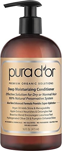 PURA D'OR Deep Moisturizing Premium Organic Argan Oil & Aloe Vera Conditioner, 16 Fluid Ounce (Pur Dor Shampoo compare prices)