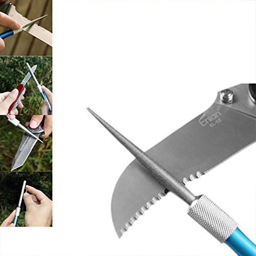 GVDV Best 3-in-1 Tactical Portable Pocket Size Pen Shape Knife Sharpener Kit; Best for Survival/Hunting/Serrated/Ceramic/Kitchen Knife; Pruners/Secateurs/Scissors/Hoof; Perfect for Indoor & Outdoor; Light Weight;Diamond Retractable Sharpener-Retail Package (Pocket Knife Sharpening Rod compare prices)