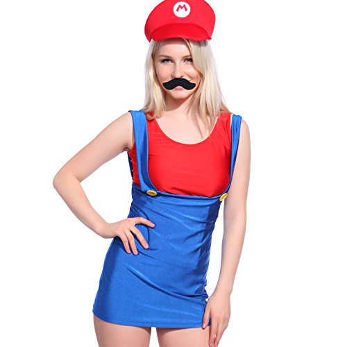 Sexy Super Mario Luigi Plumber Brothers 80s Video Game Costume Hen Party Fancy Dress