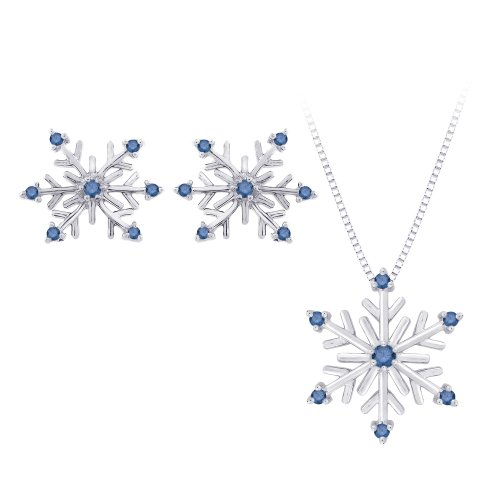 Blue Diamond ''Snow Flake'' Earrings and Pendant with Chain in Sterling Silver (1/5 cttw)