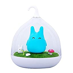 Children\'s Night Lights Hand-held Design Touch Sensor Vibration Birdcage Lamp Totoro Bedside Night Lights Charging for Kids, Baby ,Valentines Gift,Outdoor Lamp Blue