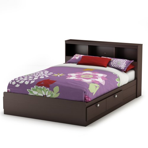 South Shore Cakao Full Storage Bed and Bookcase Headboard, Chocolate (Kids Full Beds compare prices)
