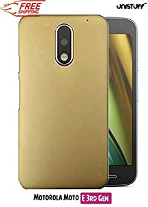 Unistuff™ Matte Hard Shell Frosted Ultra Thin Bumper Back Case Cover for Motorola Moto E (3rd Generation) (Golden)