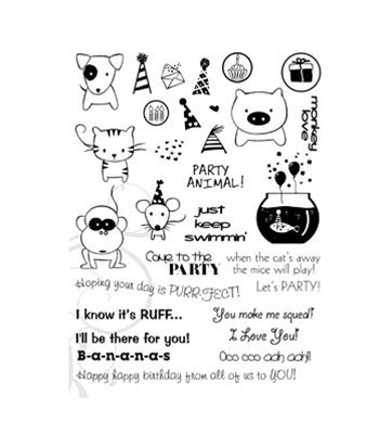 Party Animals Clear Unmounted Rubber Stamp Set (TT253)