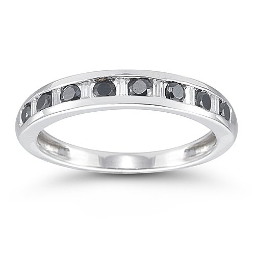 14k White Gold Black and White Diamond Anniversary Band (1/2 cttw, I-J Color, I2-I3 Clarity), Size 7