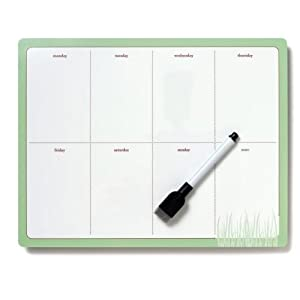 Weekly Planner Green & Brown DRY Erase Cling Self Adhesive Board Fridge - Sticks to Stainless Steel with NO residue
