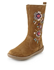 Suede Floral Embroidered & Appliqué Boots