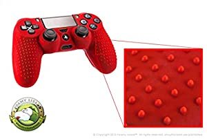Playstation 4 STUDDED Controller Skin by Foamy Lizard (TM) (4TH OF JULY SALE!) ParticleGrip (Individual) Premium Protective Anti-slip Silicone Grip Case Cover For Wireless PS4 Controller (Neutrino - Red)