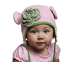 Melondipity Pink and Green Organic Crochet Baby Bear with Flower 12-24