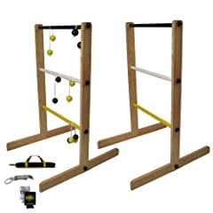 The Day of Games Double Wooden Ladder Toss Game, Yellow Black White by The Day of Games