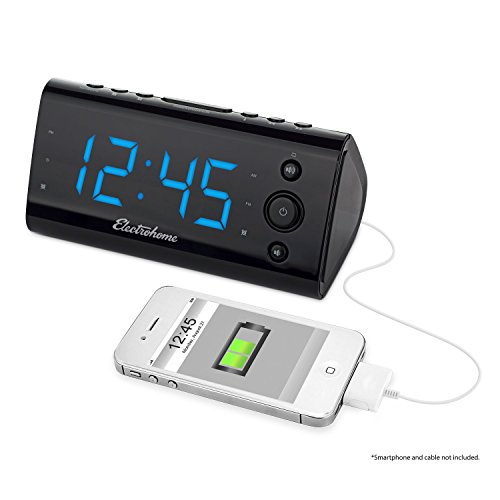 Electrohome Alarm Clock Radio with USB Charging for Smartphones & Tablets includes Dual Alarm, Battery Backup, Auto Time Set & 1.2 LED Display with 4 Dimming Options (EAAC470)