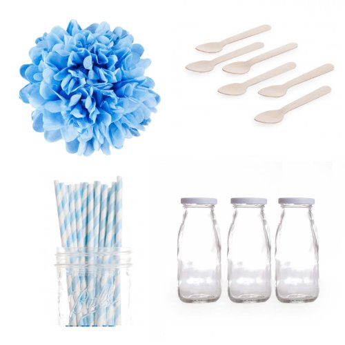 Dress My Cupcake Tissue Pom Poms Dessert Table Party Kit, Includes Vintage Glass Milk Bottles With Baby Blue Striped Straws front-507717