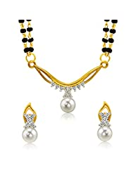 Mahi Gold Plated Princess Double Chain Mangalsutra Set With CZ & Pearl For Women NL1102000G2