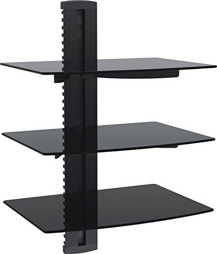 WALI Floating Shelf with Strengthened Tempered Glass for DVD Players/Cable Boxes/Games Consoles/TV Accessories, 3 Shelf, Black