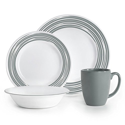 Corelle Boutique Brushed 16-Pc Dinnerware Set, Silver (Corelle Dinnerware Set Silver compare prices)