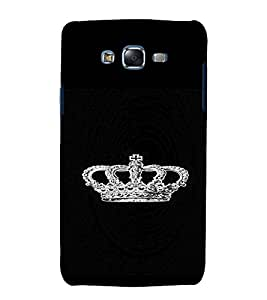 PrintVisa King's Crown Glittery 3D Hard Polycarbonate Designer Back Case Cover for Samsung Galaxy J7