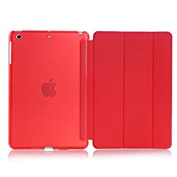 Smart Cover for Apple iPad Mini 4, Go Crazzy Translucent Back Flip Case for Apple iPad Mini 4 (Red)