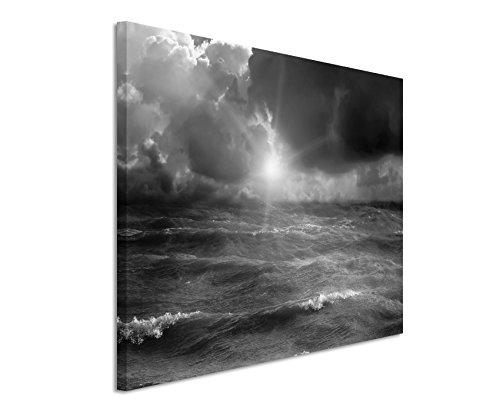 50x70cm Leinwandbild schwarz weiß in Topqualität Sturm Meer Sonnenstrahl I
