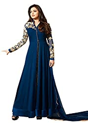 VIHA Blue Georgette Embroidered Dress Material
