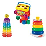 Fisher Price Baby's First Blocks with Stack And Roll Cups & Brilliant Basics Rock a Stack