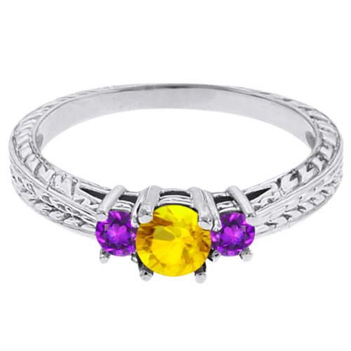 0.56 Ct Round Yellow Sapphire Purple Amethyst 18K White Gold 3-Stone Ring