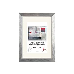 cadre lyon 15x21 cm argent cadre en bois cadre pour photo avec passepartout pour photo. Black Bedroom Furniture Sets. Home Design Ideas
