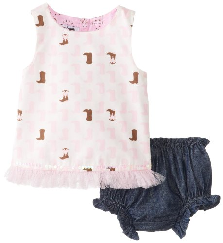 Mud Pie Baby-Girls Infant Cowgirl Pinnafore and Bloomer Set