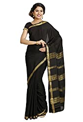 Kaushika Sarees Pure Crepe Traditional Mysore Silk Black Saree