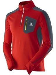 Salomon Men\'s Trail Runner Long Sleeve Zip Tee, Medium, Matador-X/Black