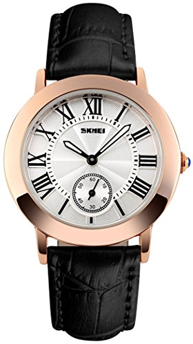 Fanmis Womens Unique Roman Numeral Quartz Analog Waterproof Black Leather Strap Rose Gold Wrist Watch (Roman Number Dial Watch compare prices)