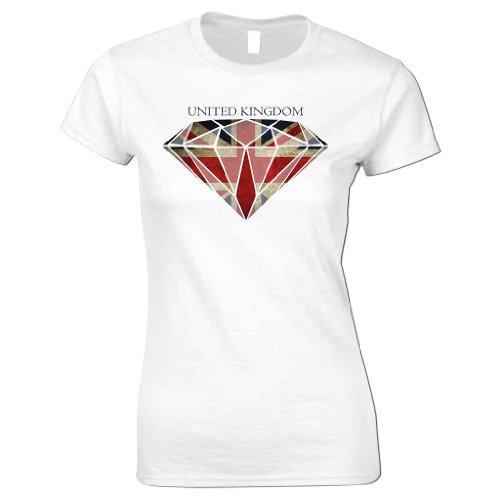 Bang Tidy Clothing Women'S Diamond Union Jack Flag T Shirt White S