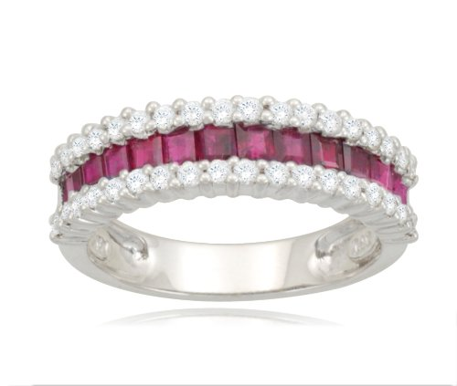 14k White Gold Classic Ruby Diamond Ring (1/3 cttw, I-J Color, SI2 Clarity)
