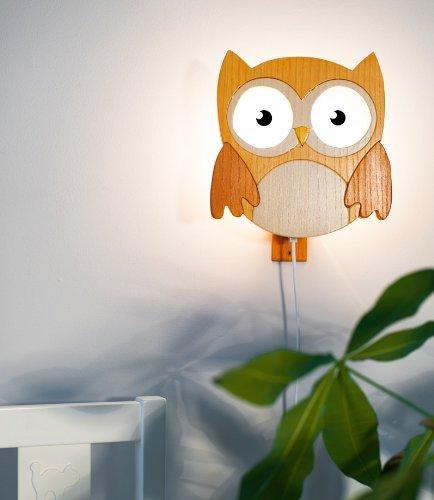 Kama design wandlampe eule holz in 4 farben natur for Kinderzimmer wandlampe