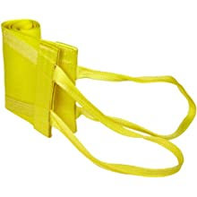 Mazzella WLA1-812 Nylon Attached Eye Web Sling, Wide-Lift, Yellow, 1 Ply, Flat Eyes, Basket Load Capacity