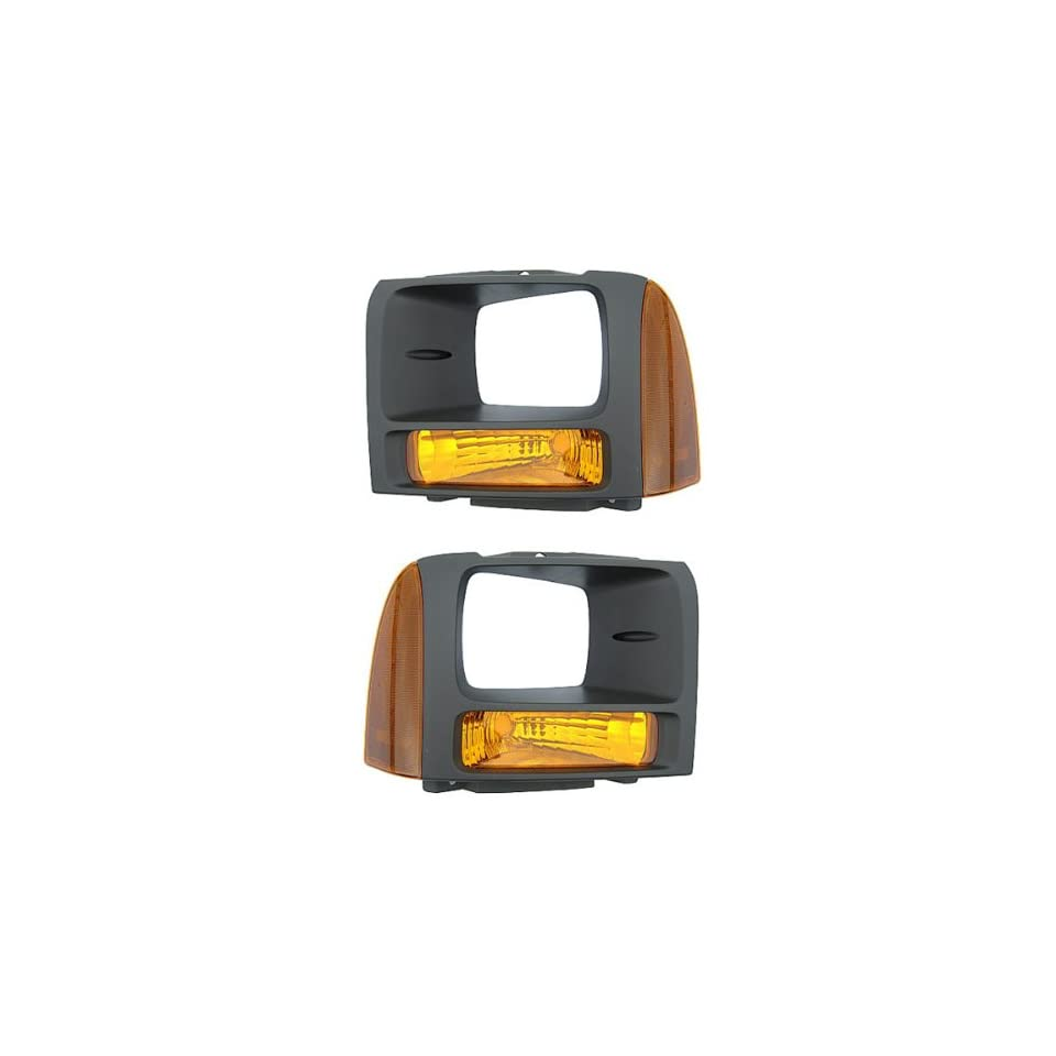 2005 2006 2007 Ford F250 & F350 Pickup Truck Super Duty Headlamp Bezel with Park Corner Light Turn Signal Marker Lamp (Argent for Models with Sealed Beam Headlights) Pair Set Right Passenger And Left Driver Side (05 06 07)