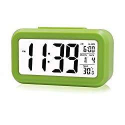 ZHPUAT Large-Display Digital Alarm Clock with Optional Backlight, Gentle Progressive Wakeup Alarm, Month, Date, and Temperature Display (Green)