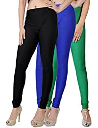 Fashion And Freedom Women's Pack Of 3 Black,Blue And Green Satin Leggings